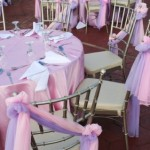 Sheer tulle or chiffon in pastel colors make simple chairs look elegant.