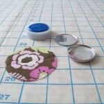 Fabric circle, button parts, mold and pushing tool.
