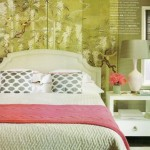 Beautiful chinoiserie screen used as headboard.  Photo courtesy of Shelter Magazine