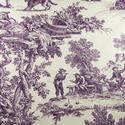 A familiar toile pattern in an unfamiliar color, Plum, on this House Party fabric