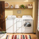 This laundry room is bright and colorful while being compact and efficient at the same time.  Photo courtesy of Whirlpool