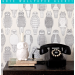 I actually like the graphic appeal of this black and white owl wallpaper from the Abigail Edwards collection.  It would look wonderful in a den, powder room, laundry room--even a play area.