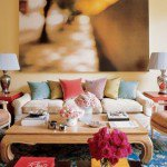 It would be hard not to notice the artwork in this room by Elle Decor