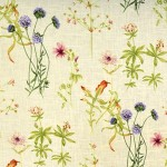 This linen/viscose fabric features pretty flowres and birds and will add a touch of springtime to any room in your home