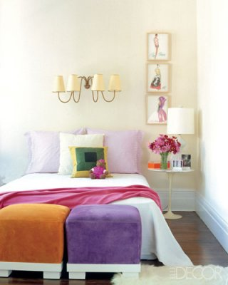 Retro fabrics and color blocking all the rage for Bedroom ideas elle decor