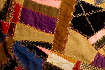 Crazy quilts can be made with any shapes and any fabric.