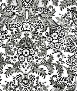 Abstract Black White Floral Fabric Pattern Stock Photo & Stock