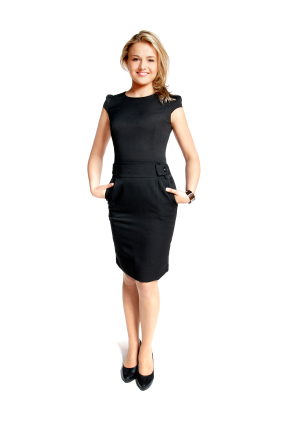 "Over the years the ""little black dress"" has taken many forms.  This style which appeared a few years ago is suitable for the office, as well an evening the town."