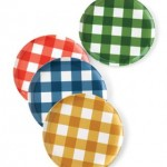 colorful gingham plates (photo by Geoffrey Sokol for elle decor)