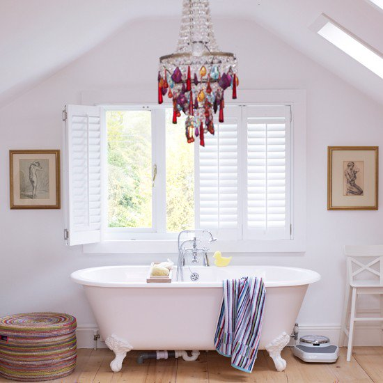 Whimsical chandelier in bath from house to home for Whimsical decor