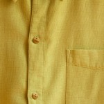 This striking shirt is made of a hemp fabric.  Hemp apparel weight fabric is an excellent alternative to linen.