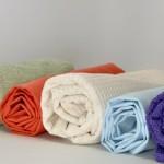 An assortment of toweling fabrics.