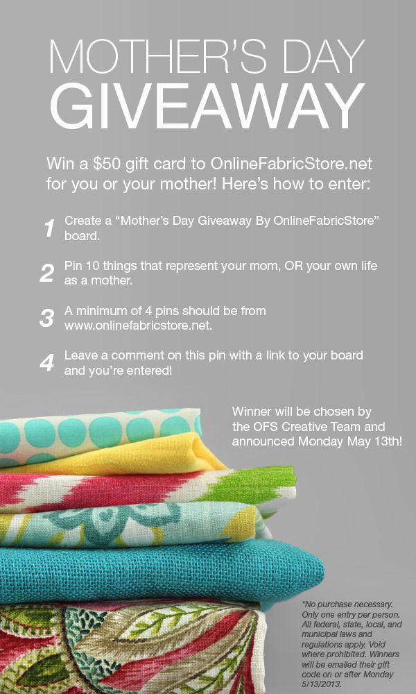 Mother's Day Gift Card Giveaway! - OnlineFabricStore.net Blog