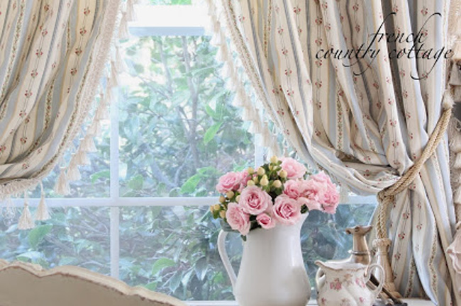 French country cottage curtains blog for Cottage style curtain ideas