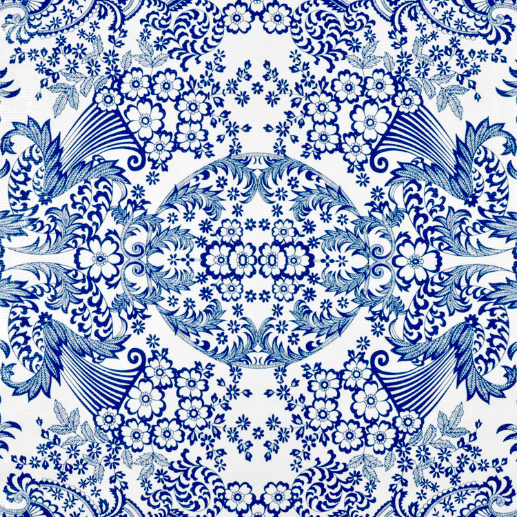 Blue Paradise Lace Oilcloth Fabric