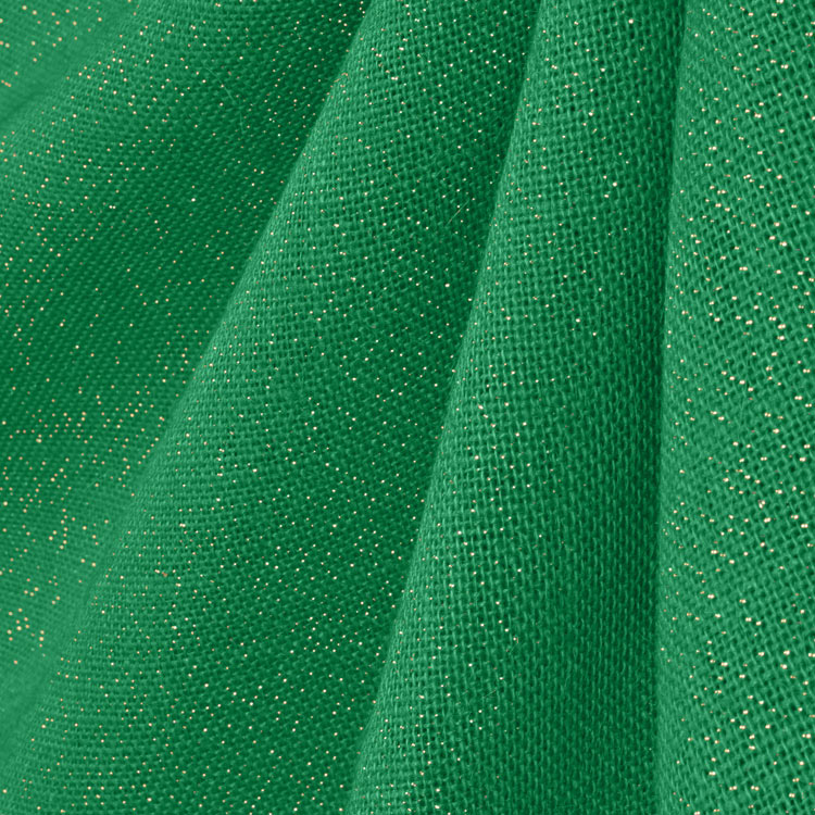 Green/Gold Metallic Burlap Fabric