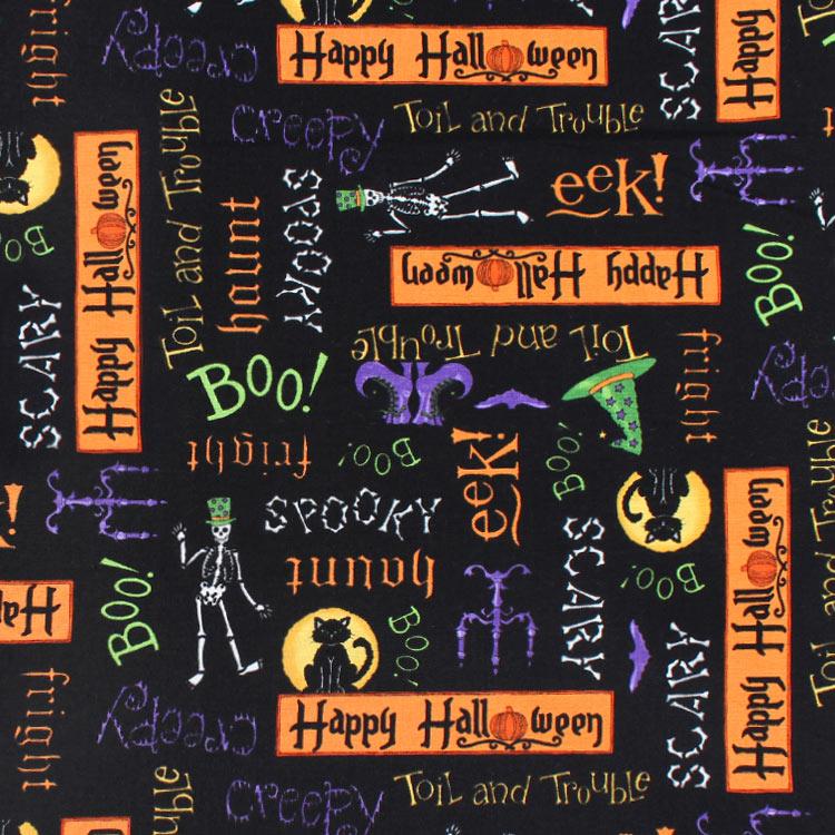 Moda Happy Halloween Midnight Black Fabric