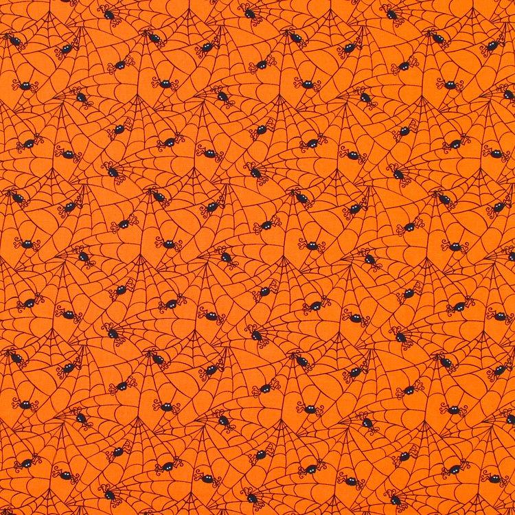 Moda Creepy Cobwebs Pumpkin Orange Fabric