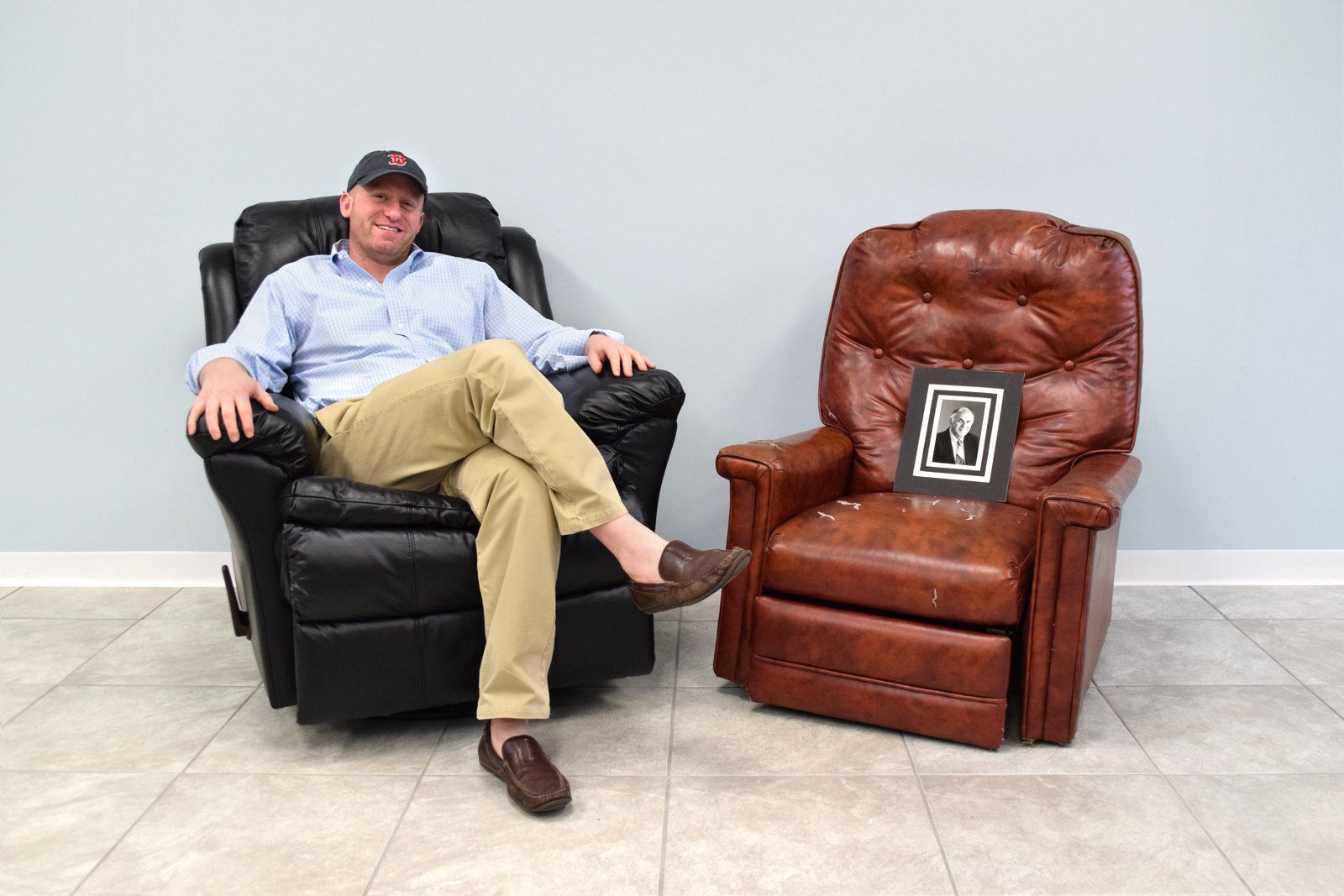 OFS Founder, Mayer alongside his grandfather's chair