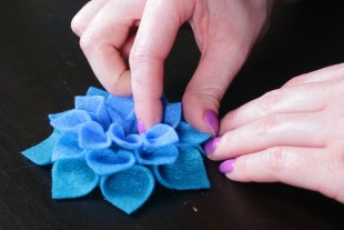 No Sew Felt Flower DIY Tutorial - Glue the flower together