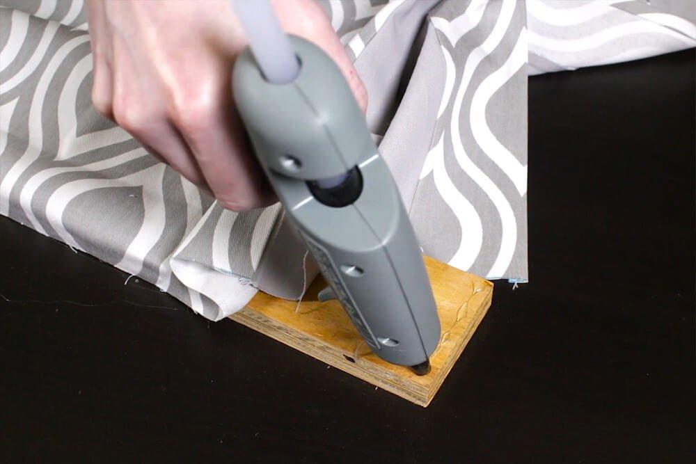 No Sew Valance - Dot glue on the corner