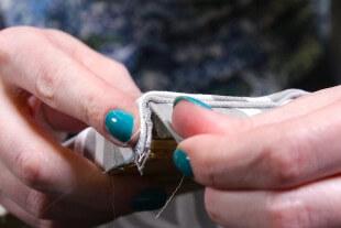 No Sew Valance - Glue the back corner