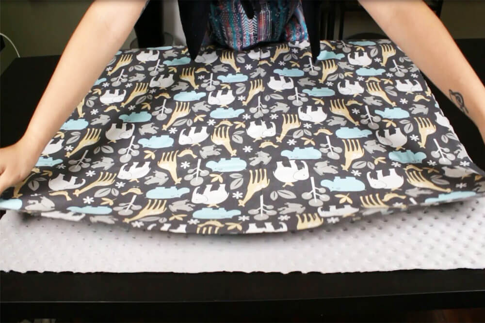 How to Sew an Easy Baby Blanket - Aligning the two pieces