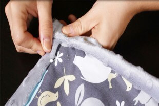 How to Sew an Easy Baby Blanket - Folding the corners