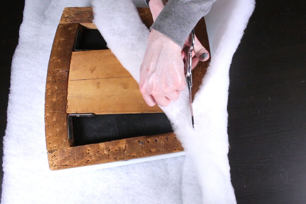 How to Reupholster Dining Chairs - DIY Tutorial - Step 2: Add foam and padding