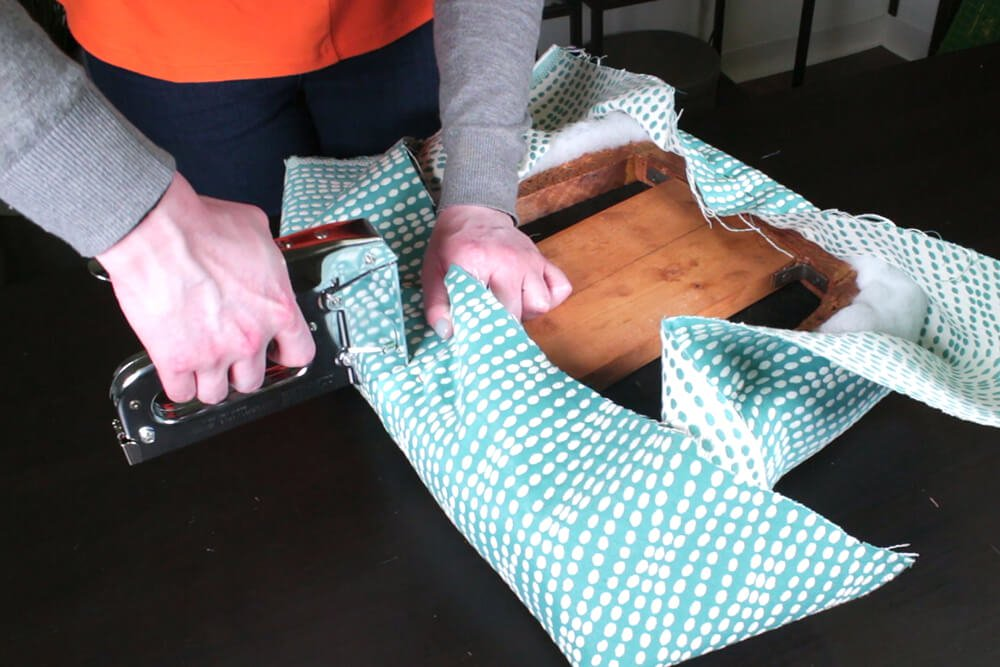 How to Reupholster Dining Chairs - DIY Tutorial - Step 3: Attach the upholstery fabric