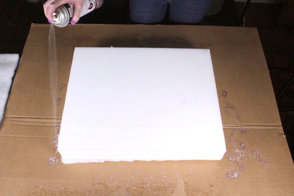 Box Cushion - Spray the adhsive