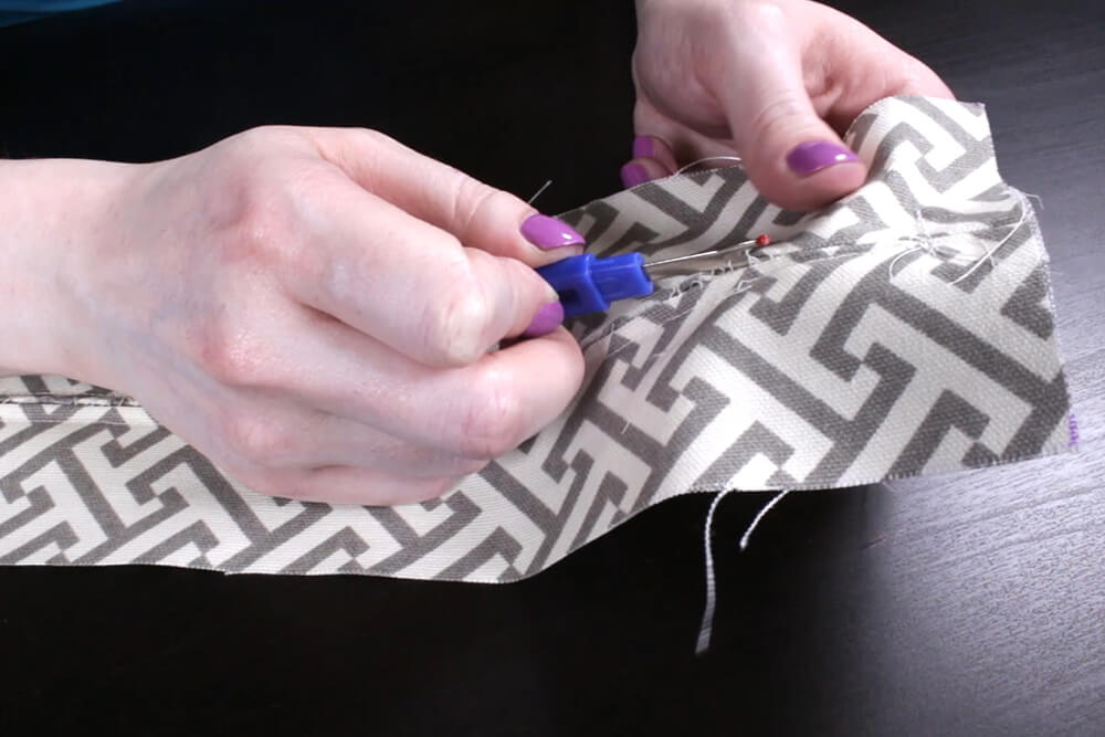 Box Cushion - Open the seam with a seam ripper