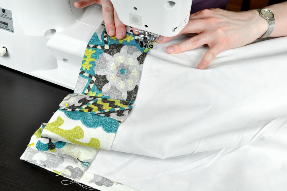 How To Make Lined Back Tab Curtains: Step 5 - Sew top & tabs