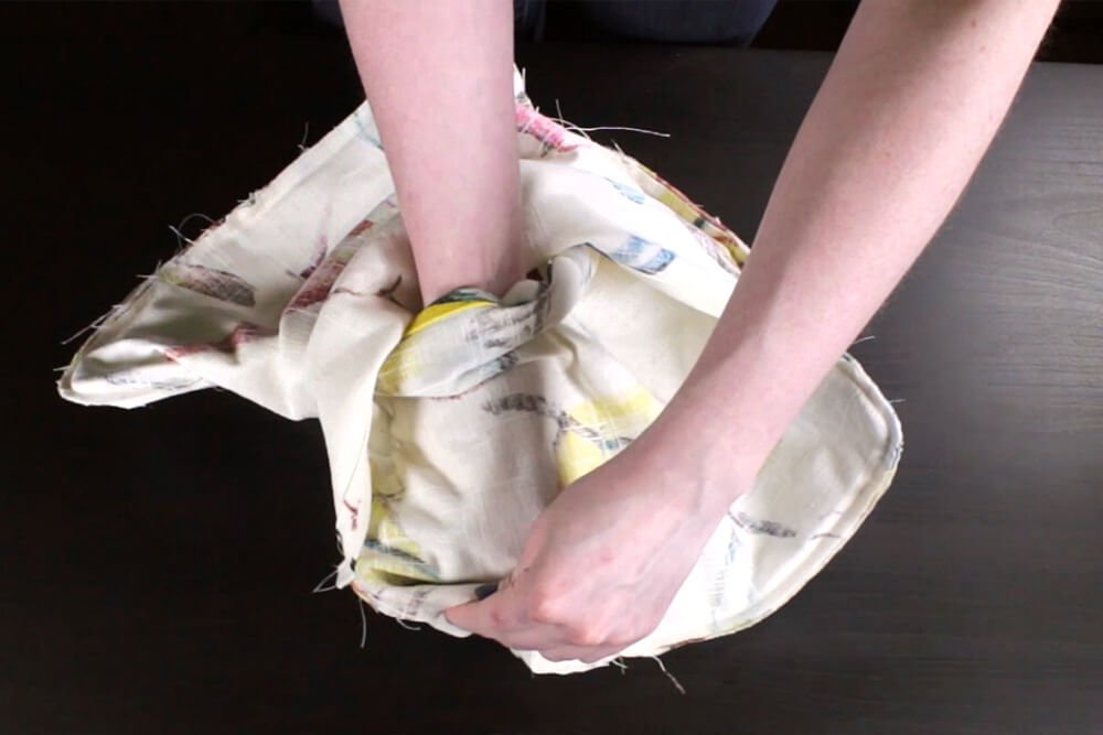 How to Sew an Envelope Pillow with Piping - Turning cover right side out