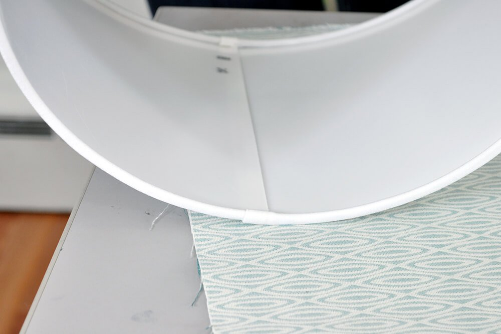 How to Cover a Lampshade with Fabric - Step 1: Mark the fabric