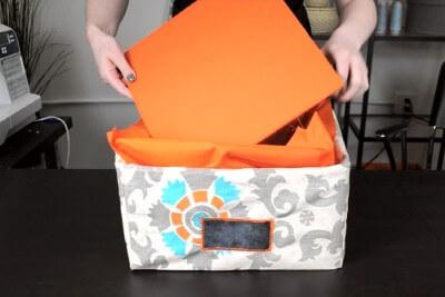 DIY Fabric Storage Bin - Step 7: Assemble the storage bin