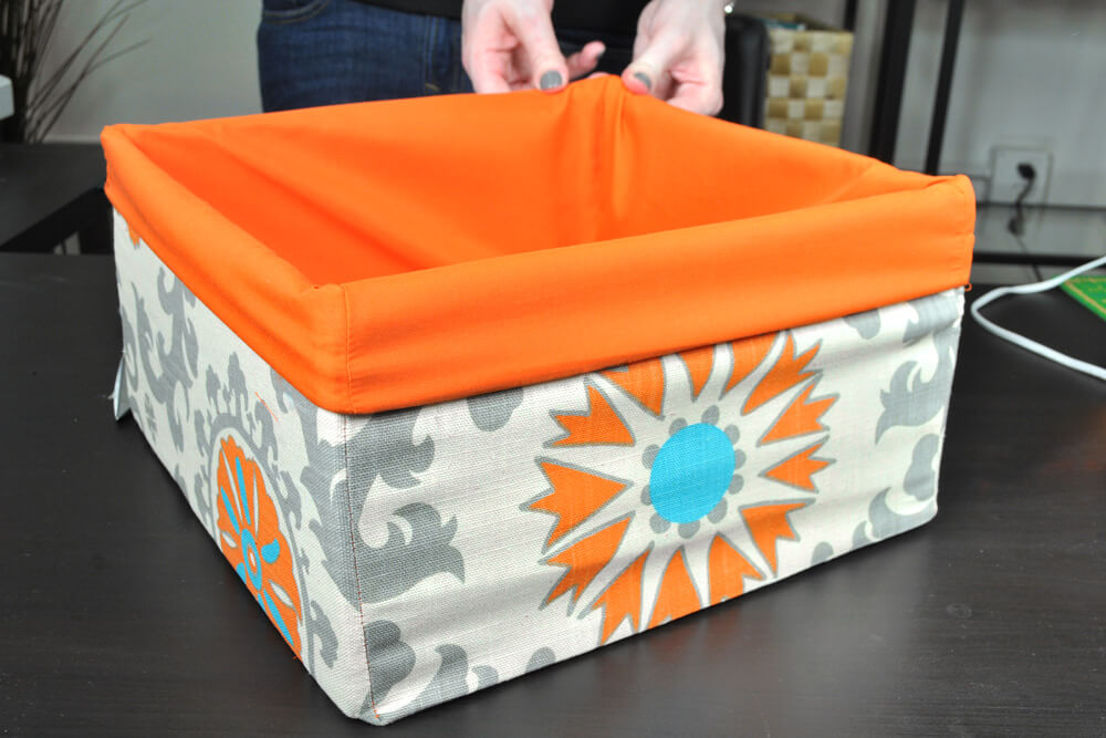 DIY Fabric Storage Bin - Step 7: Assemble the storage bin