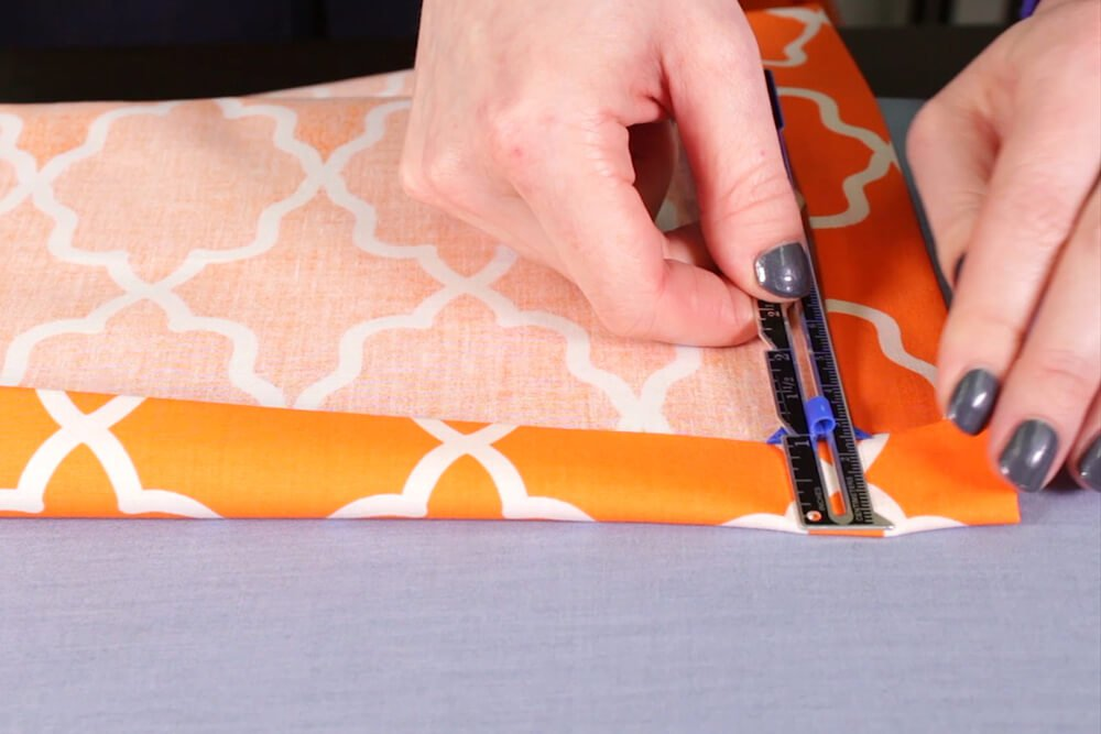 How to Sew a Mitered Corner - Step 1: Press the fabric