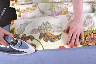 No Sew Grommet Curtains Tutorial - Step 2: Hem the edges of the panel