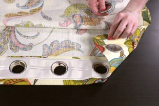 No Sew Grommet Curtains Tutorial - Step 3: Attach the grommets