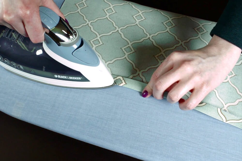 No Sew Outdoor Pillow DIY Tutorial - Ironing the panels