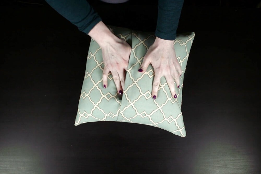 No Sew Outdoor Pillow DIY Tutorial - Inserting the pillow form