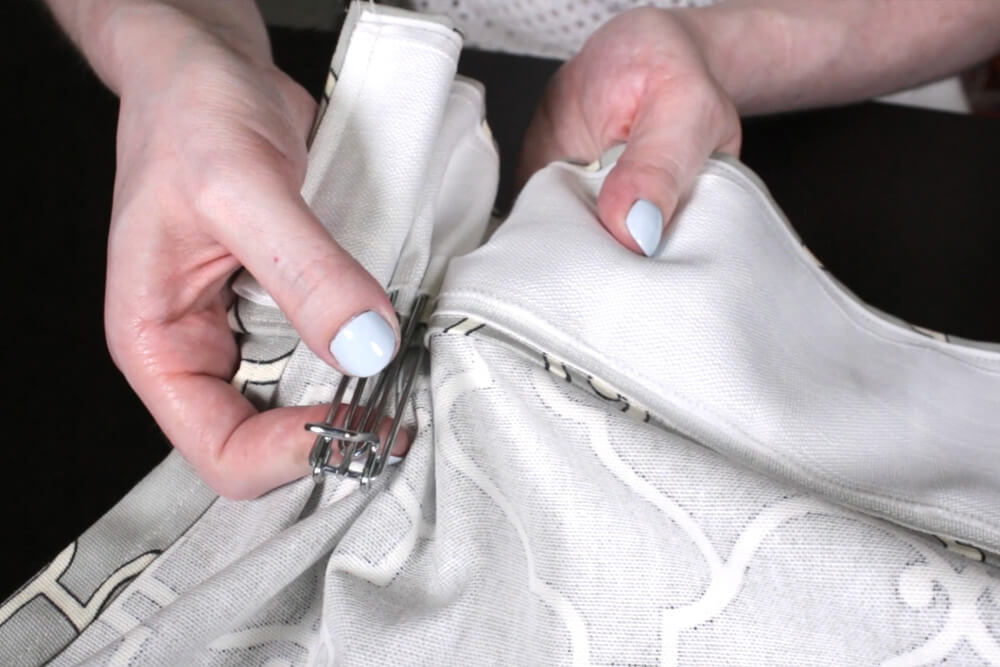 How To Make Pleated Curtains with Pleat Tape & Hooks - Step 4: Attach the pleater tape & hooks