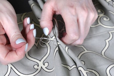 How To Make Pleated Curtains with Pleat Tape & Hooks - Step 5: Tack the pleats (optional)