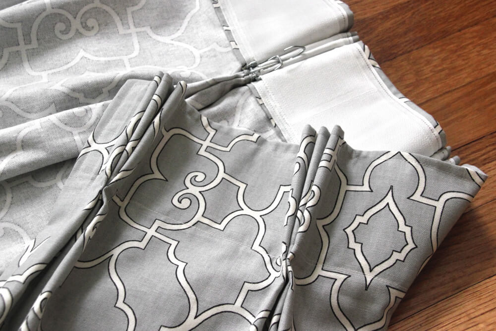 How To Make Pleated Curtains with Pleat Tape & Hooks - Finished Image