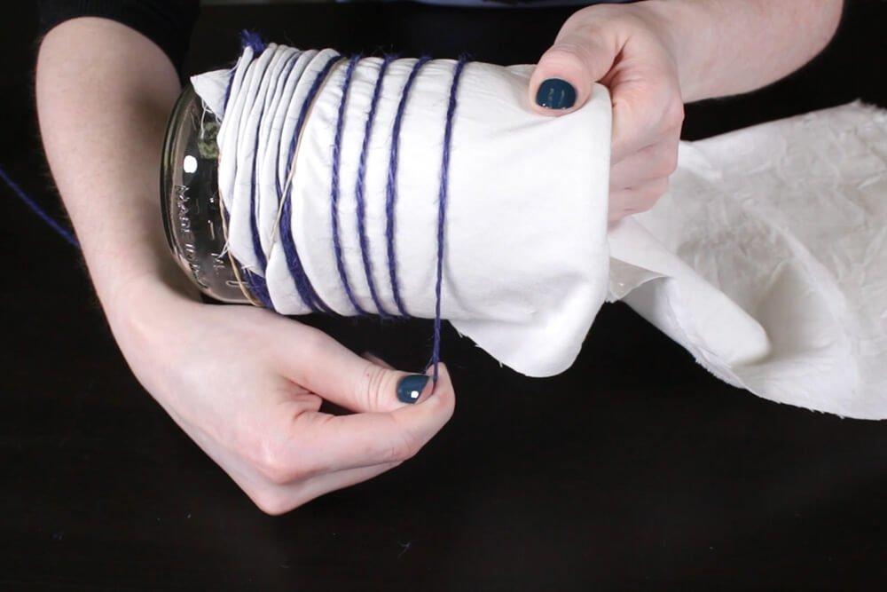 Shibori Pole Dyeing Technique - Continue to wrap twine