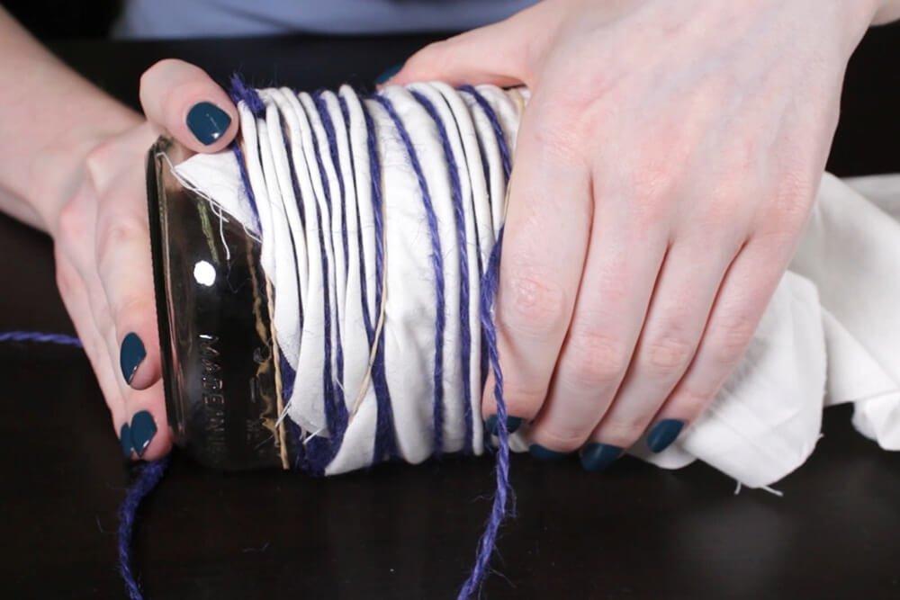 Shibori Pole Dyeing Technique - Continue to scrunch fabric