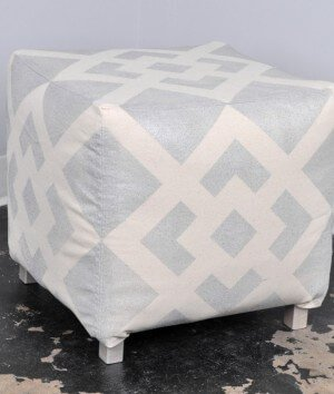 How to Make an Ottoman with a Spray Painted Design