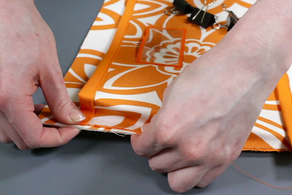 How to Make a Hanging Pocket Organizer - Attach the pockets