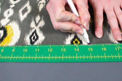 How to Make a Pouf Ottoman - Measure & cut the fabric